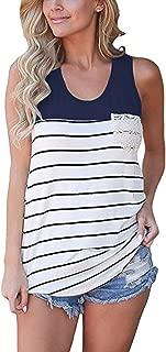 Women's Summer Color Block Striped Racerback Cami Tank Tops Sleeveless Tunic Tops T-Shirts