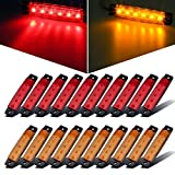 Partsam 20x 3.8' Amber/Red Clearance lights Truck Trailer RV Lorry Van Side Marker Indicators Decorative, Thin Line 3.8' 6 LED Amber Trailer Marker Lights Parking Turn Signal Lights