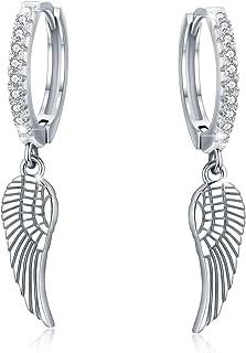 angel wing hoop earrings