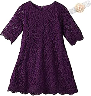 KISSOURBABY Girls Lace Back Rainbow Formal Flower Dress for Party Wedding Birthday