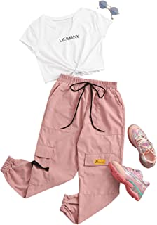 SheIn Women's Short Sleeve Tie Front Tee with Cargo Pants Set 2 Piece Outfits