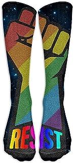 ulxjll, Medias De Compresión Resistir Orgullo Rainbow Crew Niñas Niños Calcetines Largos Hasta La Rodilla Medias Transpirables Personalizadas Divertidas 50Cm