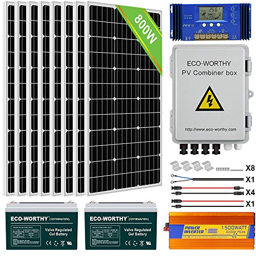 ECO-WORTHY 800W 24V Solar Panel Off Grid System Kit with Battery: 8pcs 100W Mono Solar Panel + 1500W 24V-110V Inverter + 200Ah Battery + 60A PWM Charge Controller for RV, Boats, Homes