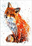 7Dots Art. Wild Animals. Watercolor Art Print, Poster 8'x12' (A4) on Fine Art Thick Watercolor Paper for Living Room, Bedroom, Bathroom, Kid's Room. Wall Art Decor with Animals. (Red Fox)