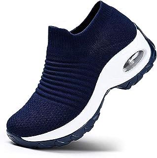 K&T Womens Cushion Walking Shoes Sock Sneakers Tennis Shoes Mesh Slip On Loafers Lightweight Fashion Nursing Girls Wedge Platform Dance Shoes