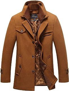 kaoho コート メンズ 厚手 ウール製 冬服 中綿入り 暖かい ロング丈 通勤 紳士服保温性抜群 カジュアル ジャケット