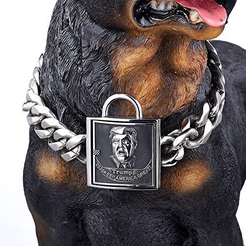 Modow 19MM Perro de Mascota Grande Negro Acero Inoxidable Cadena Gargantilla Collar Pitbull Doberman,Silver,20in