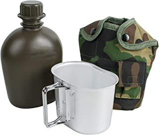 ixaer Army Aluminum Canteen with Camouflage Nylon Cover for Camping and Hiking