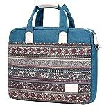 Wxnow Bohemian Canvas Business Laptop Shoulder Messenger Bag Work Briefcase Sleeve Case Crossbody Bag for Women fits 15-15.6 inch Laptop Case Lake Blue