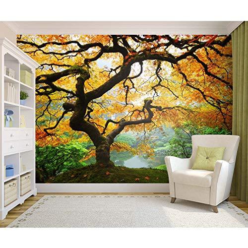 Startonight Fototapete Kunstdruck Herbst Ahorn, Wandbild Großformatige Modern Muster Dekorative Kunst Wand 256 x 366 CM
