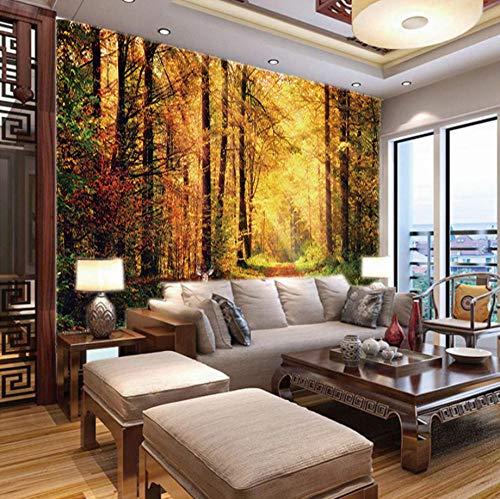 Fotobehang 3D Herfst Gouden Woud, 150X100Cm Non-Woven Behang - Muurschildering - Wanddecoratie - Kunstdruk - Poster Foto - Hd Print - Modern Decor 300x210cm