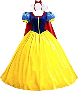 Halloween Women's Princess Christmas Costume Dress for Adult Classic Deluxe Ball Gown Cosplay with Cloak Headband