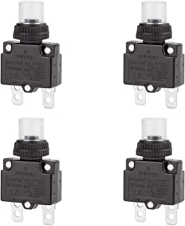 DIYhz 3Amp Circuit Breakers Thermal Overload Switch Protector 88 Series Manual Push Button Reset with Quick Connect Terminals and Waterproof Button Cap 32VDC or 125/250VAC 4PCS