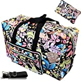 Large Foldable Travel Duffle Bag For Women Hospital Bag Cute Floral Tote Handbag Shoulder Weekender Overnight Carry On Checked Luggage Bag For Girls (rainforest)