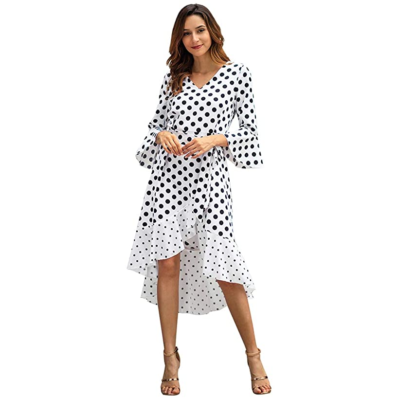 Byinns Women Vintage Polka Dot Dress V Neck Bell 3/4 Sleeves Ruffles Casual High Low Hem Irregular A-Line Swing Midi Dress