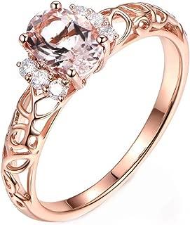 Jalash Rose Gold Finish Vintage Filigree Wedding Engagement Band Ring with Created Morganite & CZ