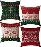 FeelAtHome Throw Pillow Covers Cases 18 x 18 Inches Set of 4 (Christmas Snow) - Cozy Decorative Throw Pillow Cases for Home, Couch, Sofa, Bed - 4PCS Zip Accent Pillow Cover 100% Quality Linen Fabric