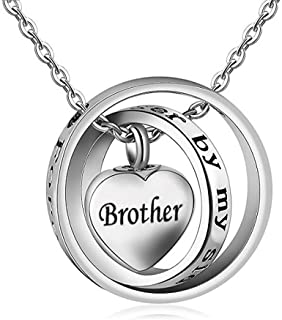 Urn Necklace for Ash Cremation Pendant Love Heart Crossed Ring Family Dog Cat Pet for Women Men