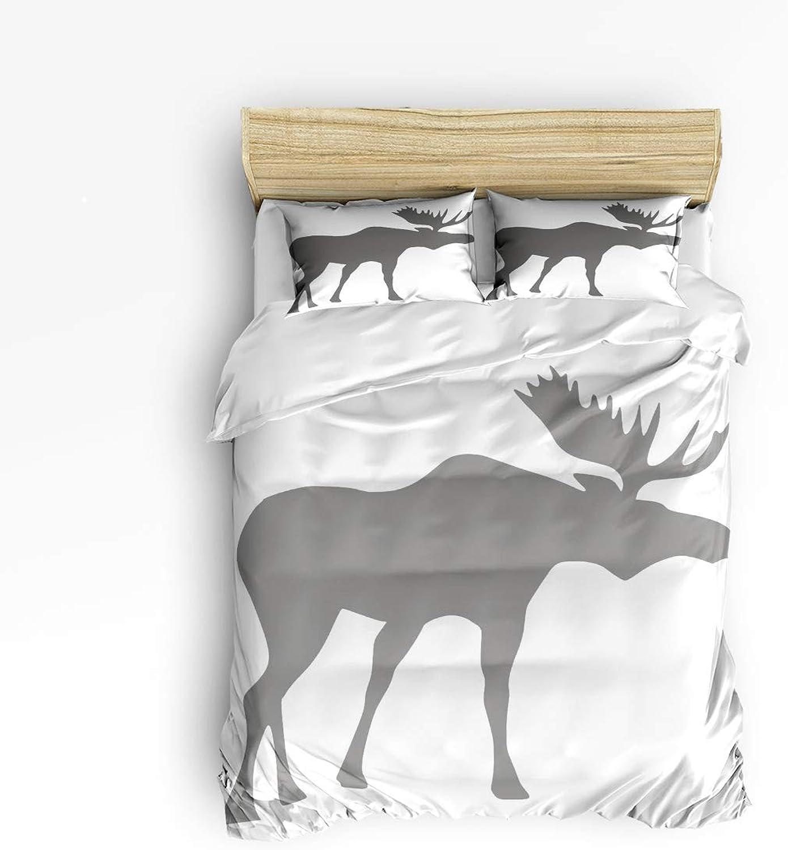 Fandim Fly Bedding Set Twin Size Silhouette of Elk Animal Theme Artwork Print,Comforter Cover Sets for All Season