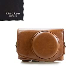 kinokoo Canon PU Leather Camera Case with Shoulder Strap for Canon PowerShot SX720 HS SX730 and SX740 HS (Brown)