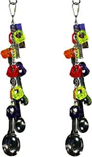 Birds LOVE 2 Pack Bird Toys Safe Chain of Acrylic Jewels Stainless Spoons Straight Small and Medium Birds for Bird Cage