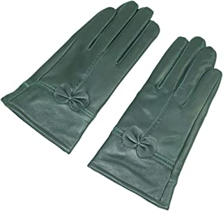 Simple Sytle Women Winter Warm Lambskin Driving Leather Gloves