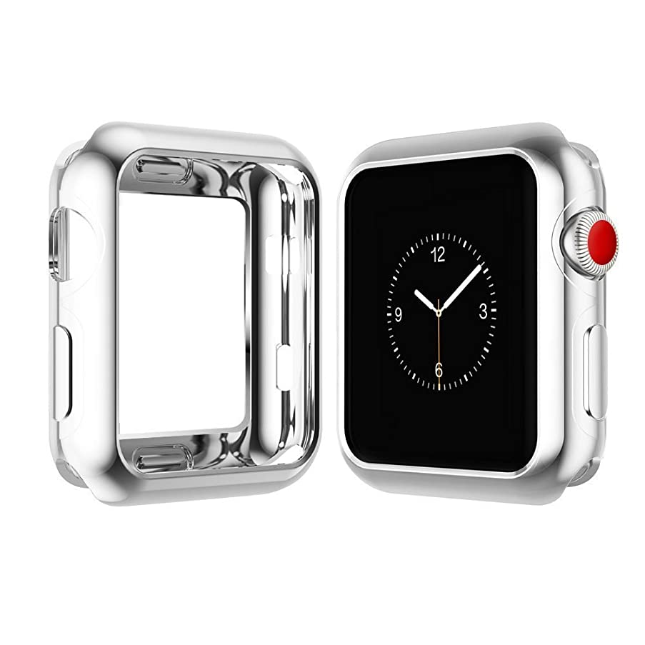 Chrome TPU Case W/Corner & Edge Protection by Tech Express for Apple Watch Series 1, 2 & 3 Cellular LTE/GPS [iWatch Cover] Bumper Smooth Gel Skin Protective Shockproof Protection (38mm, Silver)