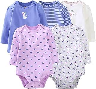 Body z długim rękawem dla dziewczynki, zestaw 5 sztuk, bawełniane śpioszki, pidżama na lato, body dla niemowląt, strój do ...