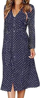 KYLEON Women's Long Sleeve Casual Polka Dot Wrap Midi Dress V-Neck Boho Elegant Swing Summer Beach Party Tunics Sundress