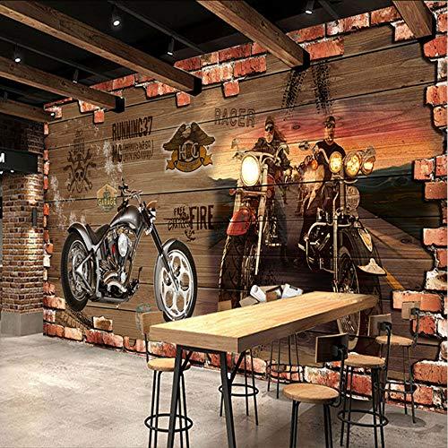 Pmhhc 3D-fotobehang vintage nostalgisch motorfiets brick muur achtergrond decoratie voor kamerbar, kv, wandklokken 120 x 100 cm.