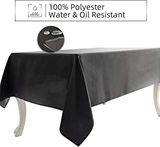 Ethlomoer Rectangle Tablecloth 60x60 Inch, Water & Oil Proof and Spill-Proof, Wrinkle Resistant, Washable Polyester Table Cover for Dinning Party Outdoor & Indoor Use,Silver 60x60 Inch