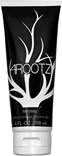 4RootZ Colored Hair Gel for Men and Women, Covers Gray Hair Roots, Hair Root Touch Up, Hair Dye and Root Cover Up - Brown