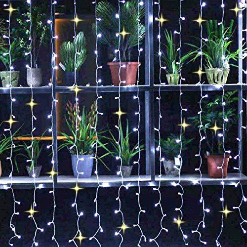 360 LED 3 x 2 m cortina de luces con efecto brillante con 90 % de luz continua y 10 % luces brillantes para decoración navideña (blanco frío, blanco cálido parpadeante)