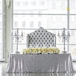 B-COOL 90x156 Inch Rectangle Silver Sequin Tablecloth Sequin Table Linens Glitter Tablecloth Wedding Sequin Tablecloth