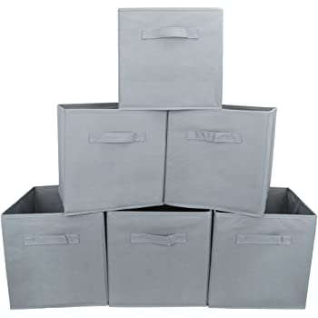 EZOWare Caja de Almacenaje con 6 pcs, Caja de Tela para Almacenaje, Gris: Amazon.es: Hogar