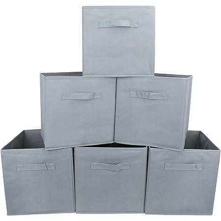 EZOWare Boîtes de Rangement Ouvertes en Textile Non-Tissé, Tiroir en Tissu pour Linge, Jouets, Vêtement, Disques DVD - Pack de 6/ Gris