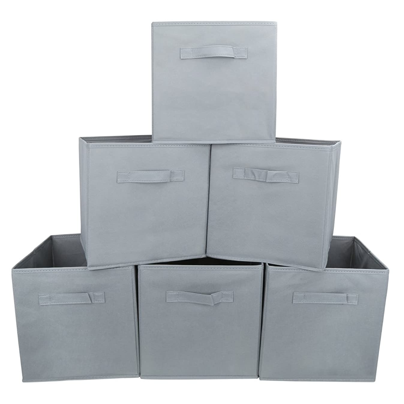 EZOWare Set of 6 Basket Bins Collapsible Storage Organizer Boxes Cube for Nursery Home - (Gray)