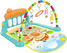 iuockg Baby Gym Kick and Piano Play Mat, Activity Lay & Play 3 in 1 Play Piano Gym Center with Hanging Rattlers Toys for Infants, Toddler