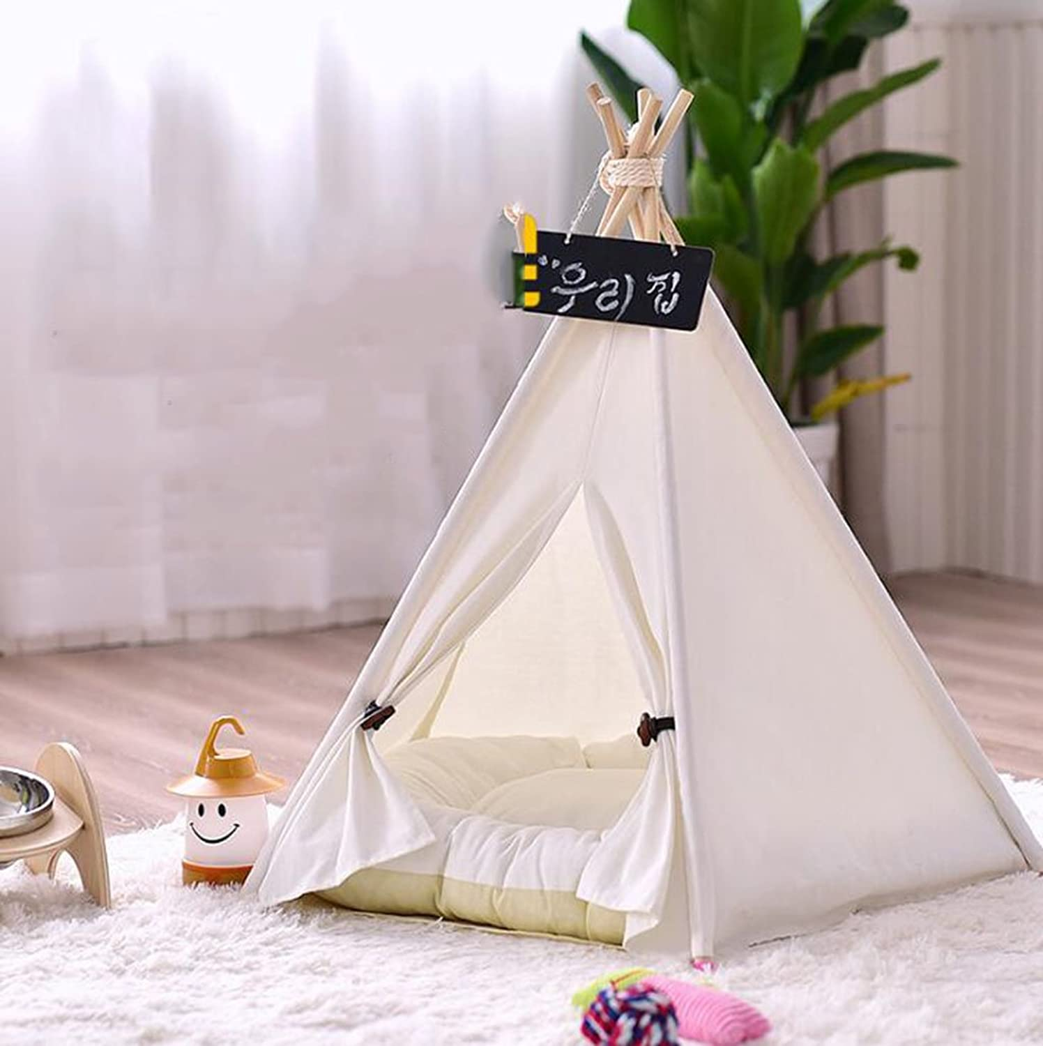 RUIRUI ZHAO Four Seasons Universal Cat And Dog Kennel Removable Tent Pet Kennel Teddy Small And Medium Dog Kennel Cat Kennel White Tent Pet Kennel,Medium