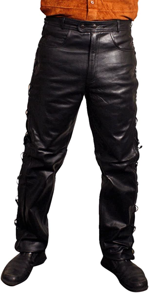 Men's Thick Cow Hide Leather New York Mall Side unisex 5 Pa Model Laces Jeans Pockets