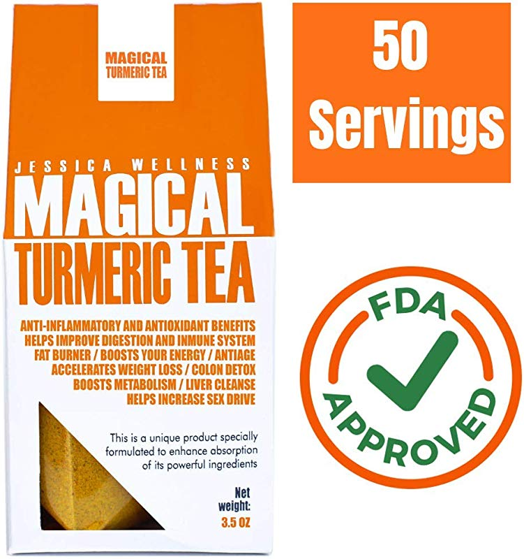 Jessica Wellness Magical Turmeric Curcumin Tea Organic Turmeric Curcumin With Bioperine 50 Servings 9000 Times More Powerful Than Turmeric From India Improve Skin And Healt