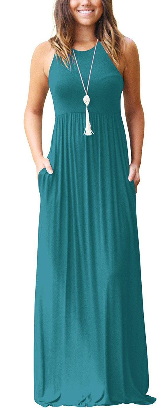 Available at Amazon: Muhadrs Women's Sleeveless Racerback Loose Plain Maxi Dresses Casual Long Dresses with Pockets