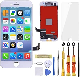 Goldwangwang iPhone 7 Plus Screen Replacement White,5.5inch 3D Touch LCD Screen Digitizer Replacement Frame Display Assembly Set with Repair Tool kit + Tempered Glass Screen Protector + Instruction