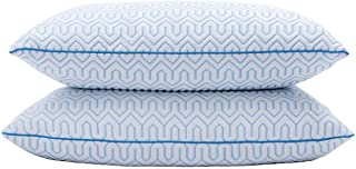 puredown Natural White Goose Down Feather Cool-Down Pillow with Cooling Ice Silk Cover,Set of 2,Queen