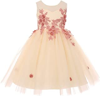 46bfa7739a1 Cinderella Couture Big Girls Champagne Rose 3D Floral Applique Junior  Bridesmaid Dress 8-12