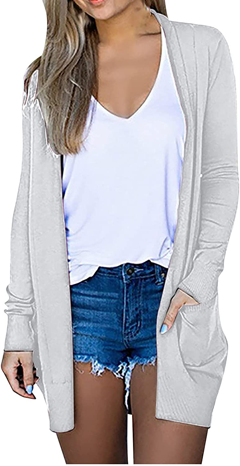 GBSELL Women's Open Front Knitwear Ribbed Long Sleeve Knit Ribbed Neckline Cardigans Knit Sweater (XL, Pockets White)