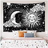KBIASD Blanco Negro Sol Luna Mandala Tapiz Colgante de Pared Hippie Alfombras de Pared Dormitorio Decoración de la cabecera Tapiz psicodélico 150x130cm