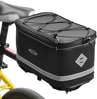 Ajcoflt Bolsa para bagageiro de bicicleta de 12 litros resistente à água com capa de chuva impermeável