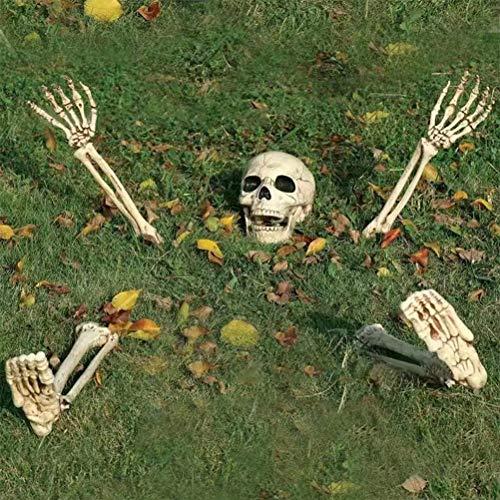 Uyuke Cabeza de Halloween Brazo Pierna Esqueleto Decoración Esqueleto Prop para Halloween Cementerio Escena