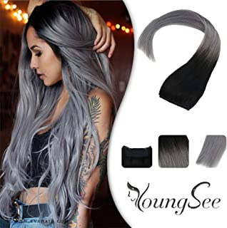 YoungSee 12inch Hidden Crown Halo Remy Human Hair Extensions Ombre Natural Black Fading to Blue Grey Halo in Hair Extensions for Women One Piece 80g Set 12inch